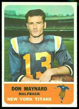 Don Maynard 1962 Fleer football card
