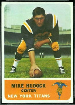 Mike Hudock 1962 Fleer football card