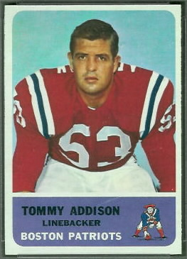 Tommy Addison 1962 Fleer rookie football card