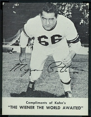 Myron Pottios 1962 Kahns football card