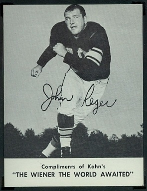 John Reger 1962 Kahns football card