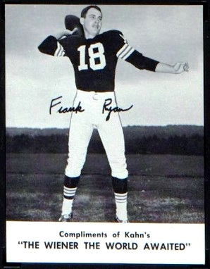 Frank Ryan 1962 Kahn's Wieners football card