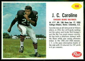 J.C. Caroline 1962 Post Cereal football card