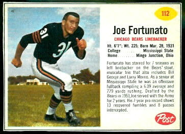 Joe Fortunato 1962 Post Cereal football card