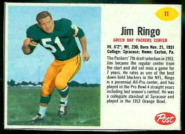 Jim Ringo 1962 Post Cereal football card