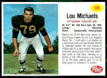 Lou Michaels 1962 Post Cereal football card