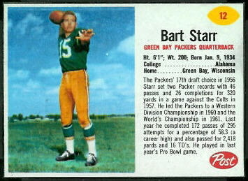 Bart Starr 1962 Post Cereal football card