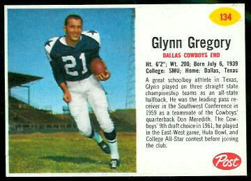 Glynn Gregory 1962 Post Cereal football card