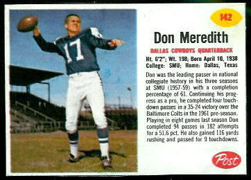 Don Meredith 1962 Post Cereal football card