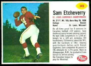 Sam Etcheverry 1962 Post Cereal football card