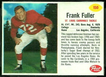 Frank Fuller 1962 Post Cereal football card