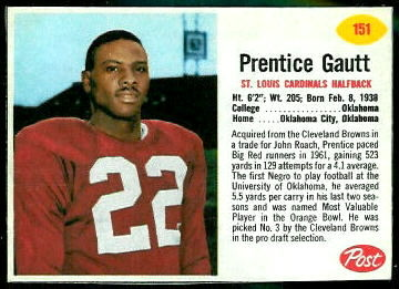 Prentice Gautt 1962 Post Cereal football card