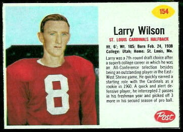 Larry Wilson 1962 Post Cereal football card