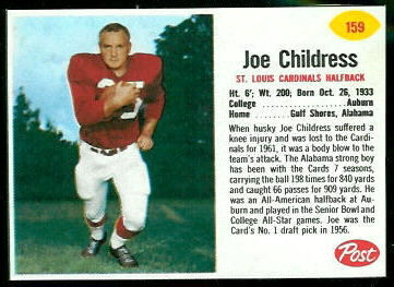 Joe Childress 1962 Post Cereal football card