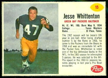 Jesse Whittenton 1962 Post Cereal football card