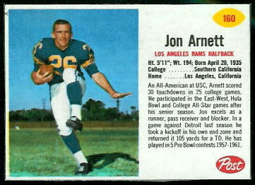 Jon Arnett 1962 Post Cereal football card