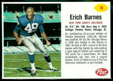 Erich Barnes 1962 Post Cereal football card