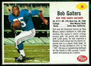 Bob Gaiters 1962 Post Cereal football card