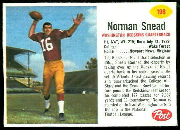 Norm Snead 1962 Post Cereal football card