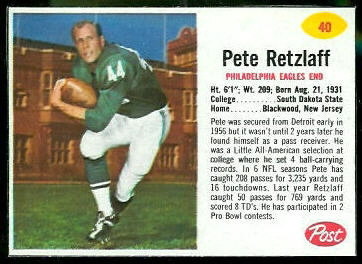 Pete Retzlaff 1962 Post Cereal football card