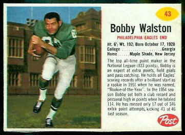 Bobby Walston 1962 Post Cereal football card