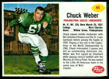 Chuck Weber 1962 Post Cereal football card