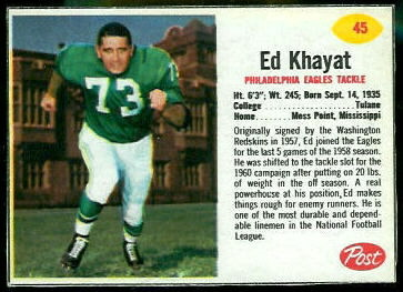 Ed Khayat 1962 Post Cereal football card