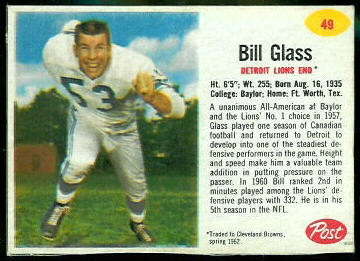 Bill Glass 1962 Post Cereal football card
