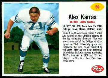 Alex Karras 1962 Post Cereal football card