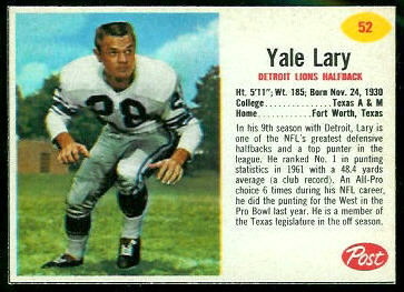 Yale Lary 1962 Post Cereal football card