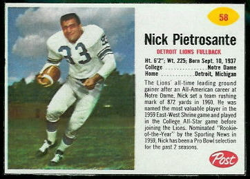 Nick Pietrosante 1962 Post Cereal football card