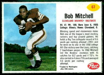 Bobby Mitchell 1962 Post Cereal football card