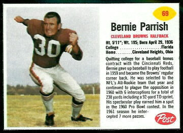 Bernie Parrish 1962 Post Cereal football card