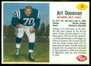 Art Donovan 1962 Post Cereal football card