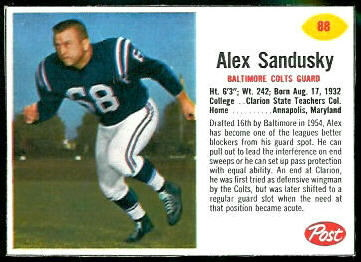 Alex Sandusky 1962 Post Cereal football card
