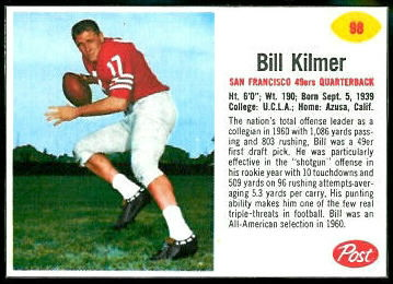 Bill Kilmer 1962 Post Cereal football card