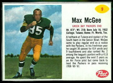 Max McGee 1962 Post Cereal football card