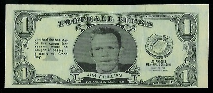 Jim Phillips 1962 Topps Bucks football card