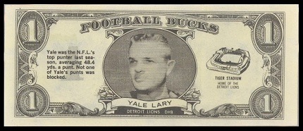 Yale Lary 1962 Topps Bucks football card