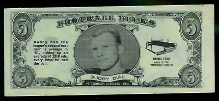 Buddy Dial 1962 Topps Bucks football card