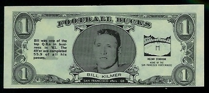 Bill Kilmer 1962 Topps Bucks football card