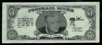 John David Crow 1962 Topps Bucks football card