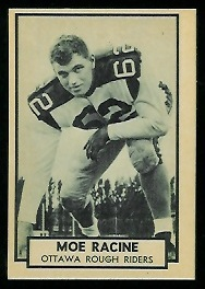 Moe Racine 1962 Topps CFL football card
