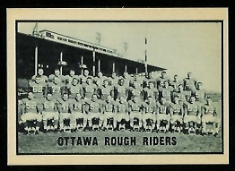 Ottawa Rough Riders Team 1962 Topps CFL football card