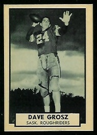 Dave Grosz 1962 Topps CFL football card