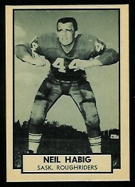 Neil Habig 1962 Topps CFL football card