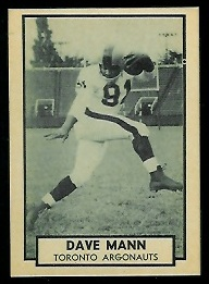 Dave Mann 1962 Topps CFL football card