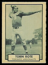 Tobin Rote 1962 Topps CFL football card