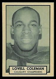 Lovell Coleman 1962 Topps CFL football card