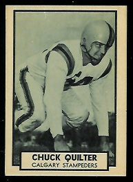 1962 Topps CFL Chuck Quilter football card